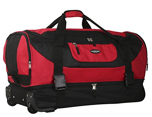 Travelers Club Luggage Adventure 30 Inch Multi-Pocket Drop-Bottom Rolling Duffel, Red, One Size - Adventure Luggage