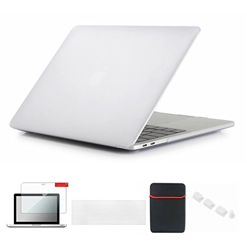 Se7enline 2016-2018 MacBook Pro Case Matte Hard Cover for MacBook Pro 13 inch A1706/A1708/A1989 with/without Touch Bar Touch ID with Sleeve,Keyboard Cover,Screen Protector,Dust plug,Transparent ()
