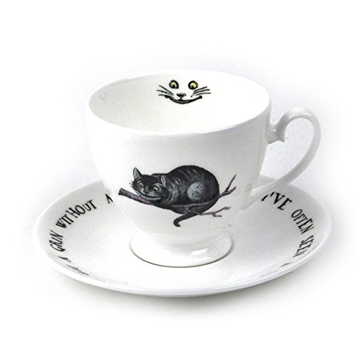 Alice In Wonderland Fine Porcelain Cheshire Cat Tea Cup and Saucer - 'We're All Mad Here'