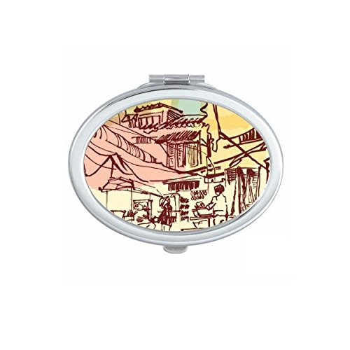 Kingdom of Thailand Thai Traditional Customs Culture Brief Strokes Prosperous Village Art Illustration Oval Compact Makeup Pocket Mirror Portable Cute Small Hand Mirrors by DIYthinker