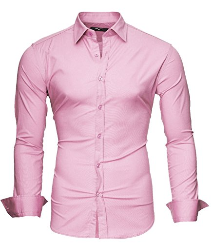 Modell Kayhan Uni Chemise S Manches Slim Coton Facile 6xl Longues Homme Repassage Rose Fit gHgawzq