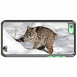 iPhone 5C Black Hardshell Case snow forest lynx cat Desin Images Protector Back Cover by mcsharks