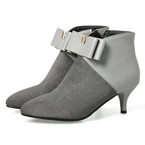 Ankel Cute SJJH with Boots Boots for Heel Grey Pointed Fashion Toe Women Ankle Bowtie Women Kitten and q0Bnx0PW