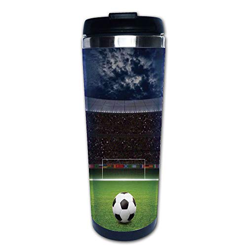 Stainless Steel Insulated Coffee Travel Mug,Stadium Arena in Night Illuminated Cheering Fans,Spill Proof Flip Lid Insulated Coffee cup Keeps Hot or Cold 13.6oz(400 ml) Customizable printing