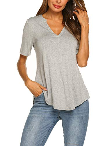 (Beyove Women's V Neck Shirts Short Sleeve Loose Casual Flowy Tunic Tops,Grey,Small)