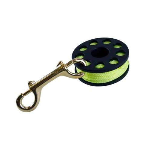 (ScubaMax 75 Ft Yellow Line Finger Spool with Brass Clip Line Holder Reel)