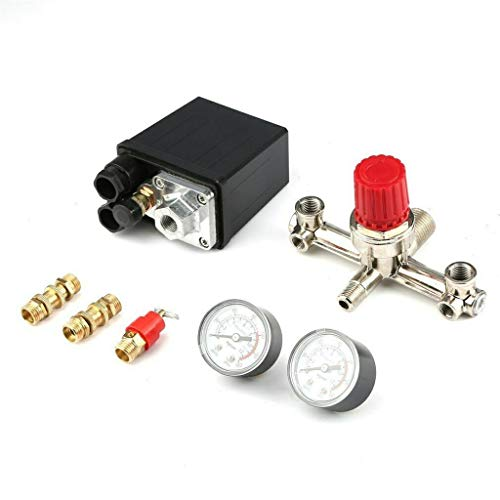Adjustable Pressure Switch Air Compressor Switch Pressure Regulating with 2 Pressure Meters Valve Control Set (Black)