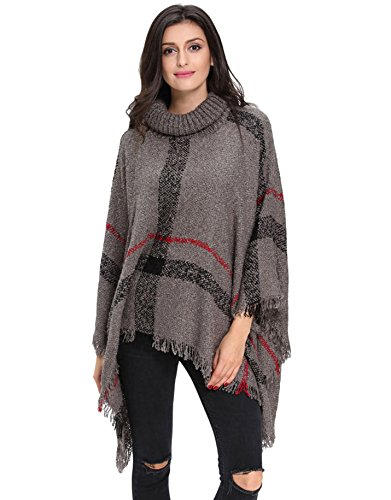 I VVEEL Women's Knitted Cashmere Turtleneck Poncho Wrap Sweater Cape Gray OneSize