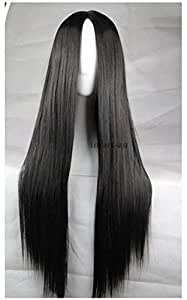 Womens 75Cm Long Straight Sleek Synthetic Cosplay Wigs Party Heat Resistant Black