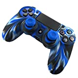 PS4 Controller Skin, Coerni Silicone Case Cover +2PC Rocker Cap For Playstation PS4 Controller (Blue)