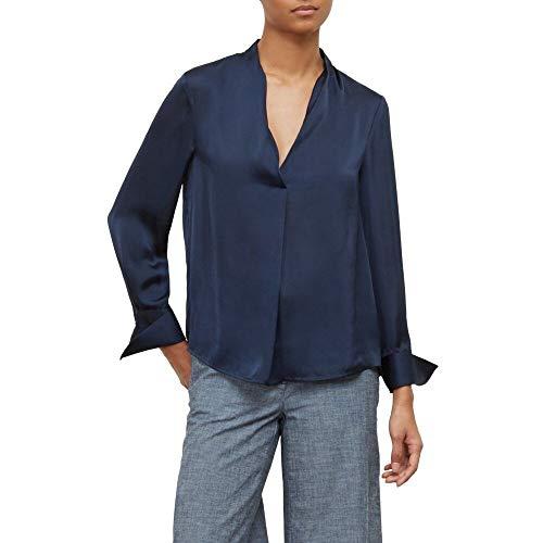 Kenneth Cole Women's V-Neck Long Sleeve Blouse, Indigo, XS
