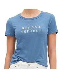 plátano Republic - Playera para Mujer, diseño con Logotipo en el Cuerpo, Color Azul