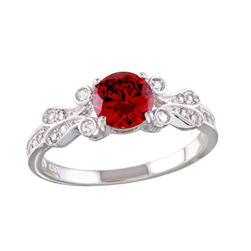 Round Simulated Ruby Center Cubic Zirconia Swirl Sides Ring Rhodium Plated Sterling Silver Size 7 ()
