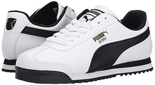 PUMA Men's Roma Basic Fashion Sneaker, White/Black Leather - 8 D(M) US