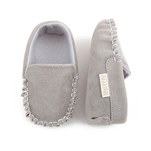 Tefamore zapatos bebes sneaker de primeros pasos de antideslizante de sole suave de moda invierno de calentar de doble velour Gris