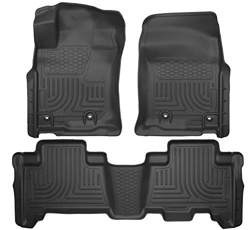 Seat Floor Liners - Husky Liners 99571 Black Weatherbeater Front & 2nd Seat Floor Liners Fits 2014-2019 Lexus GX460, 2013-2019 Toyota 4Runner