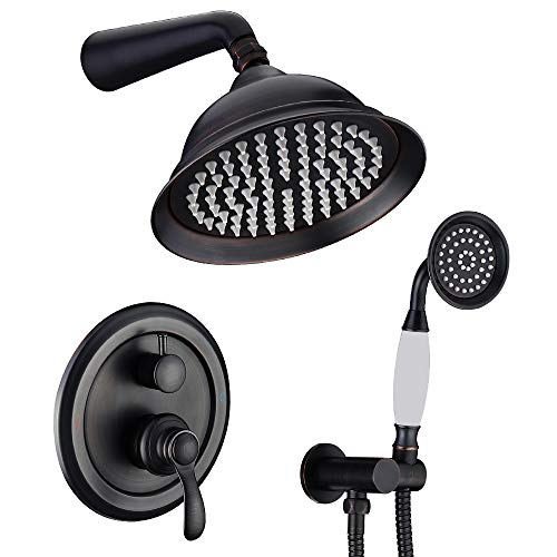 IRIBER ORB Shower System with Rain Shower Head and Handheld Oil Rubbed Bronze Shower Set with Shower Faucet Mixer Valve Wall Mounted Bathroom Black Shower Trim Kit High Pressure Rainfall Combo Set