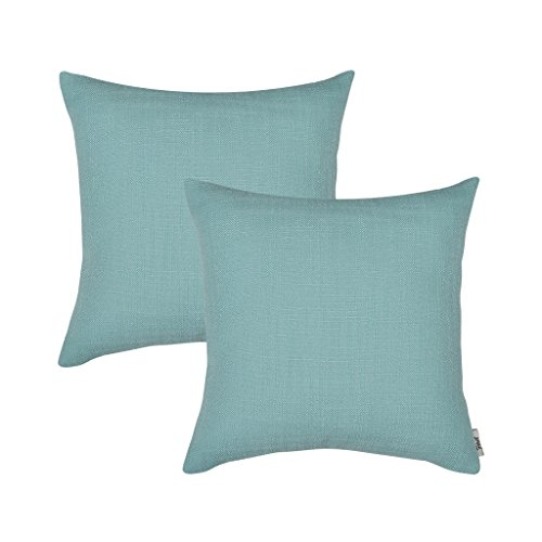 "Firet Linen Throw Pillow Covers, Square Solid Color 2 Pack Pillow Cases 18"" x 18"" Cushion Cover Bluish Green"