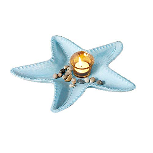 Decorative Candle Holder Starfish Decor, Votive Candle Holder Tealight Holder Resin Modern Dining Room Coffee Table Kitchen Table Decor Centerpiece 13.7''X13.7'' (Aqua) (Candles Not Included)