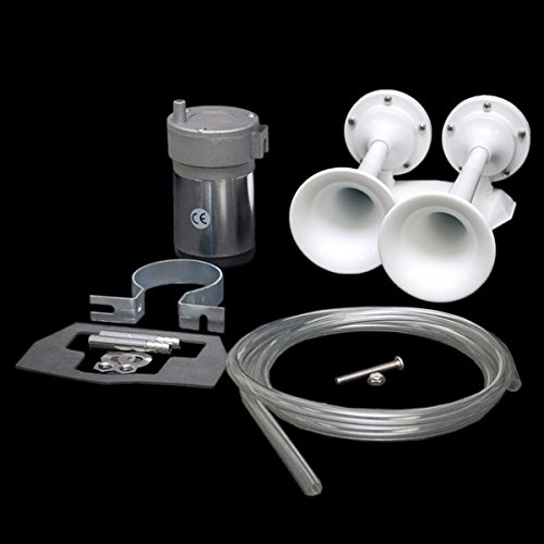 AFI 20150 White Powder Coated Marine Boat Dual Trumpet Mini Deck Air Horn w/ Compressor by AFI / Marinco
