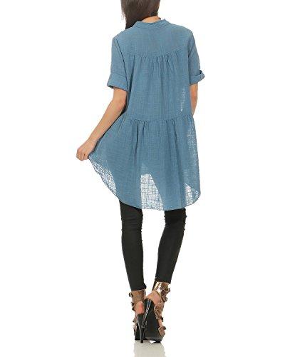 ZARMEXX Chemise Manches de Boutonnage Bleu Patte Manches Chemise Femme d't pour Longues Jeans Courtes Chemise vrxv485qw