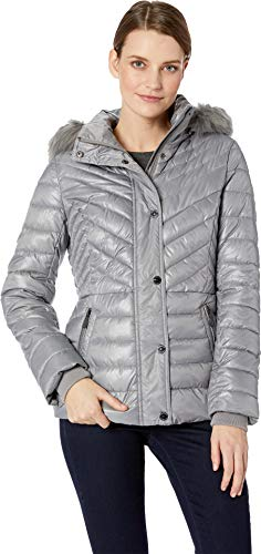 Kenneth Cole New York Women's Faux Fur Trimmed Short Puffer Nickle Large ()