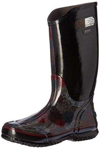 Bogs Women's Rosey Rain Boot, Black/Multi, 9 M US