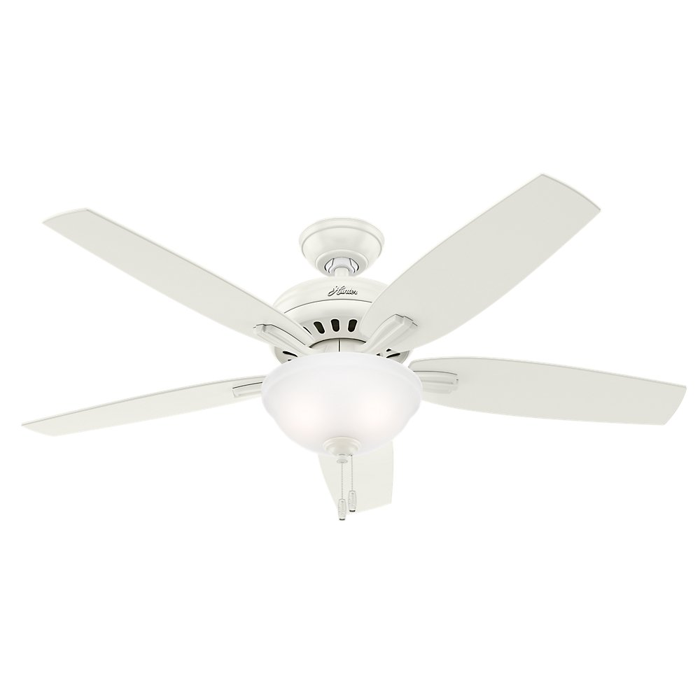 Hunter Indoor Ceiling Fan with light and pull chain control – Newsome 52 inch, White, 53310