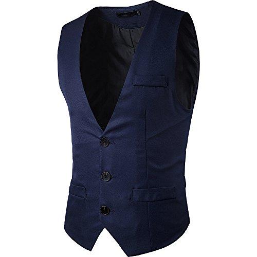 cottory Hombres 'S parte superior Diseñado cuello de pico sin mangas Casual Slim Fit Skinny Vestido Chaleco Chaleco,  Azul...
