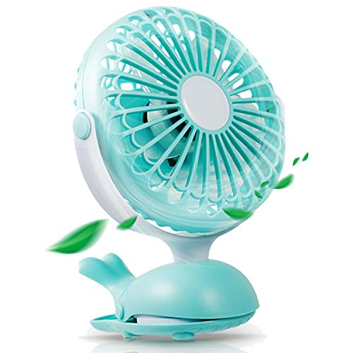 Battery Operated Clip Fan Stroller Fan for Baby Portable Silent USB Fan Mini Personal Desk Fan Cute Design Rechargeable Battery Fans Adjustable Tilt Quiet Operation for Treadmill Dorm Bed Tent Camp by Aikmi (Image #1)