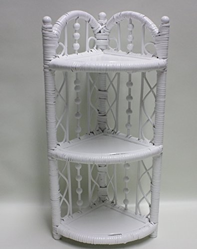 OVATIONS GIFTS Rattan Wicker 3-Tier White Corner Bathroom Shelf 12X9X24 H