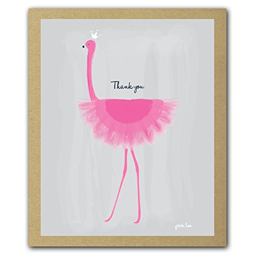 Her Majesty (Pink Flamingo) GreenThanks, Thank You Cards Boxed Set