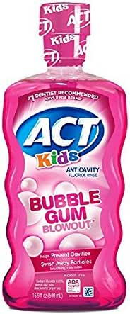 ACT Kids Anticavity Fluoride Mouthwash, Bubble Gum Blow Out 16.9 oz. (Pack of 4)