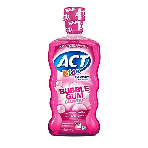 ACT Kids Anticavity Fluoride Rinse, Bubble Gum Blow Out 16.9 oz (Pack of 6) ()