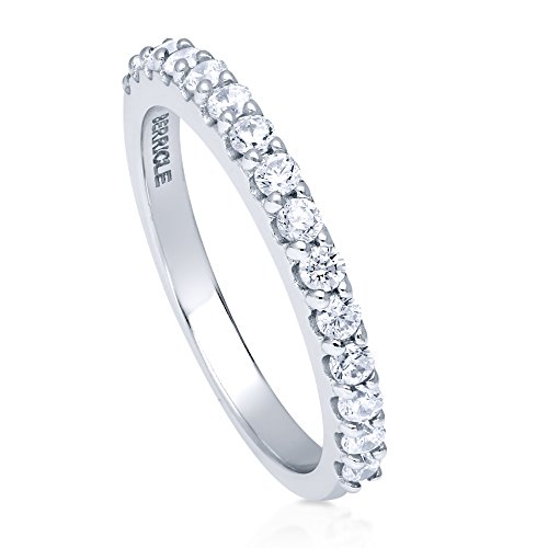 BERRICLE Rhodium Plated Sterling Silver Cubic Zirconia CZ Anniversary Half Eternity Band Ring Size (Half Eternity Ring Band)