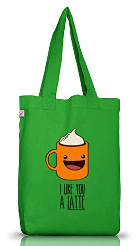 ShirtStreet Geschenkidee Jutebeutel Stoffbeutel Earth Positive mit I Like You A Latte Motiv Kelly Green i3B22e8HCI