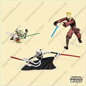 Hallmark Asajj Ventress, Anakin Skywalker, and Yoda Star Wars: Clone Wars minis 2006 Ornament QXM2113