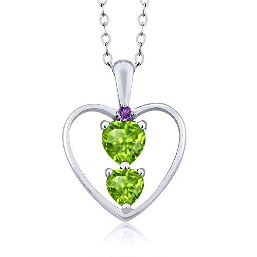 Gem Stone King 0.79 Ct Heart Shape Green Peridot 925 Sterling Silver Pendant