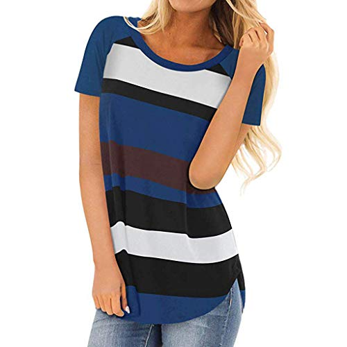 GOWOM Women Ladies Round Neck Short Sleeve Stripe Sexy Blouse Shirt(Blue,Large) ()