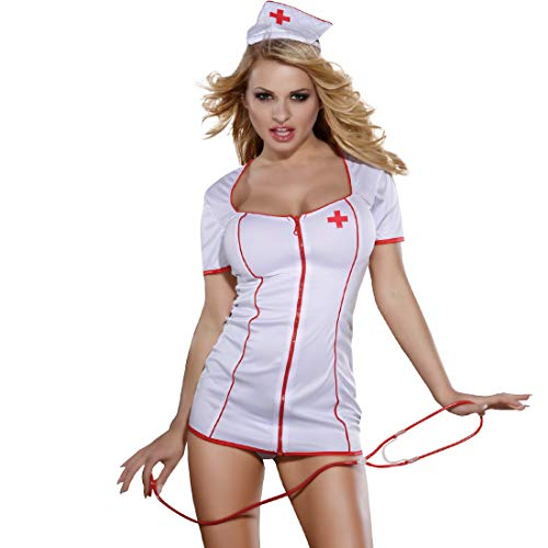 Edenight Nurse Costume Women Lingerie Outfit Cosplay Nightwear with Stethoscope (White3) -
