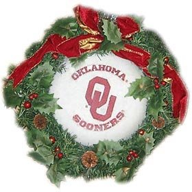 Amazon Com Oklahoma Sooners 22 Fiber Optic Holiday Wreath