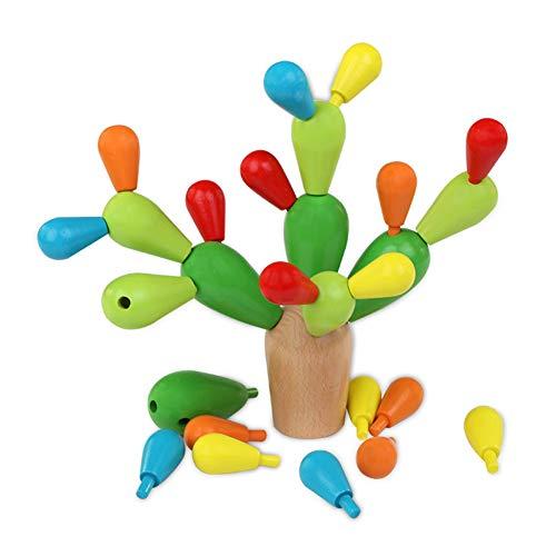 UniM Plan Toy Balancing Cactus Wooden Balancing Cactus Toy Detachable Removable Building Blocks - Multicolor