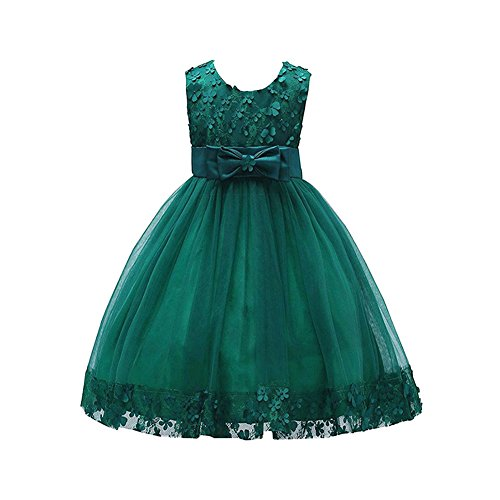 Weileenice 1-14T Big/Little Girl Ball Gown Lace Christmas Party Dresses A-Line Flower Girls Dress With Bowknot For Wedding (6-7Years, Dark Green)
