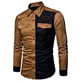 KIKOY Classic Men's Dress Shirts Long Sleeves Button Contrast Color Slim Tops