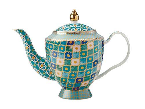 Maxwell & Williams Teas & C s Kasbah - Tetera de hojas sueltas con infusor en caja de regalo, porcelana, verde menta, 5 tazas (1 litro)