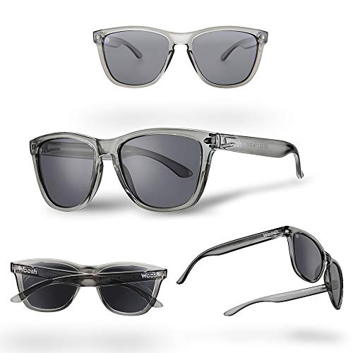 WOOSH Polarized Lightweight Sunglasses for Men and Women - Black Lens & Clear Grey Frame - Unisex Sunnies for Fishing, Beach and Outdoors