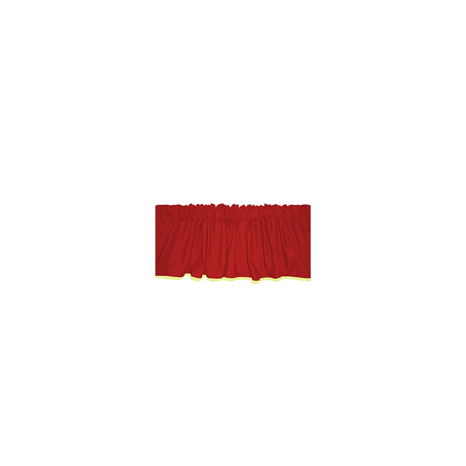 Baby Doll Bedding Solid Two tone Window Valance, Red/Yellow