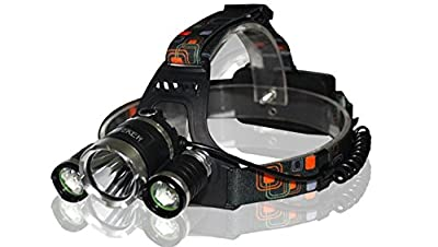 LED Headlamp Headlight iZEEKER Waterproof Zoomable Rechargable Headlamps with 5000LM 3 Modes 3 CREE T6, Super Bright Outdoor Sports Running Walking Camping Reading Hiking Riding Fishing DIY & Kids