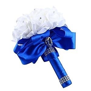 ZTTONE Wedding Bouquet, Crystal Roses Pearl Bridesmaid Wedding Bouquet Bridal Artificial Silk Flowers 73