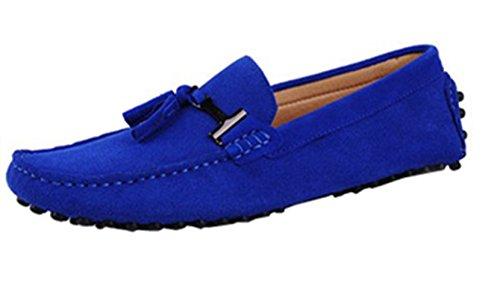 HAPPYSHOP(TM) Top-Sider Men's Moccasins Suede Loafers Shoes Slip-on Driving Shoes EUR Size 38-45 (EUR 38, Sapphire Blue) (Suede Loafers Slip)